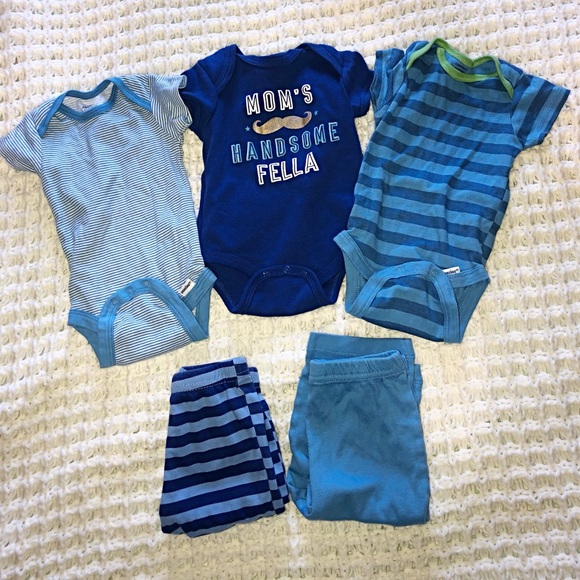 Gerber Other - 3-6 Months Baby Boy Blue Onesies & Pants